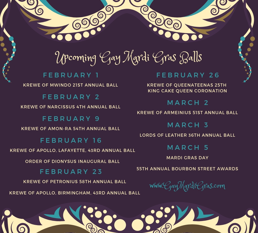 Gay Mardi Gras Ball Schedule 2019